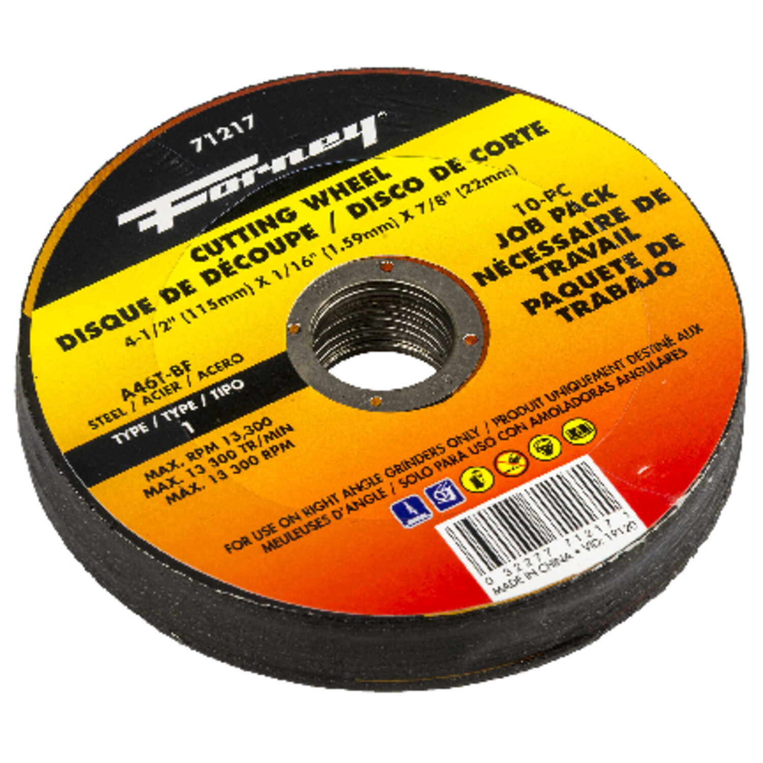 Forney  4-1/2 in. Aluminum Oxide  Metal Cutting Wheel  1/16 in. thick  x 7/8 in.  10 pk