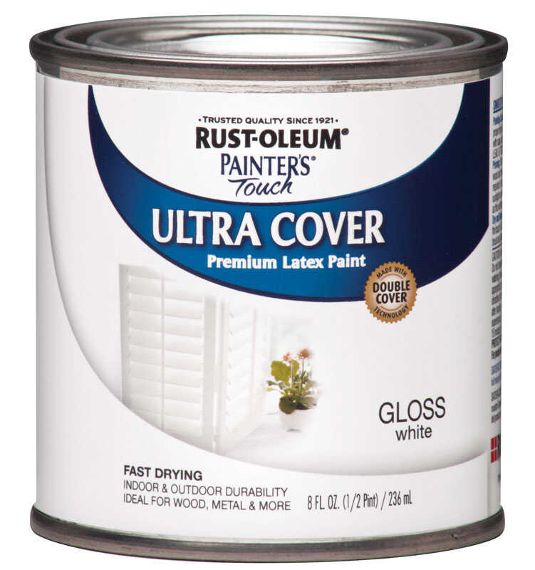 Rust-Oleum  Painters Touch Ultra Cover  Indoor and Outdoor  Gloss  White  Paint  8 oz.