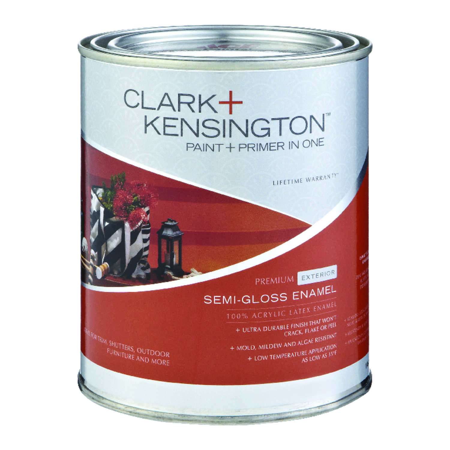 Clark+Kensington  Semi-Gloss  Designer White  Acrylic Latex  House/Trim Paint  1 qt.