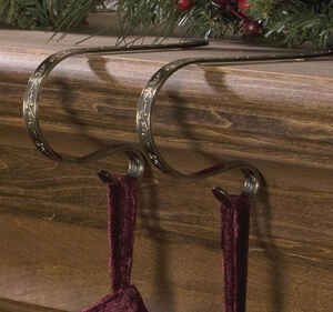 Original Mantleclip  Holly Stocking/Lights  Mantle Clips  Antique Bronze  Metal  4 pk