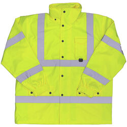 Boss  Hi-Vis  Yellow  Polyester  Rain Jacket  M