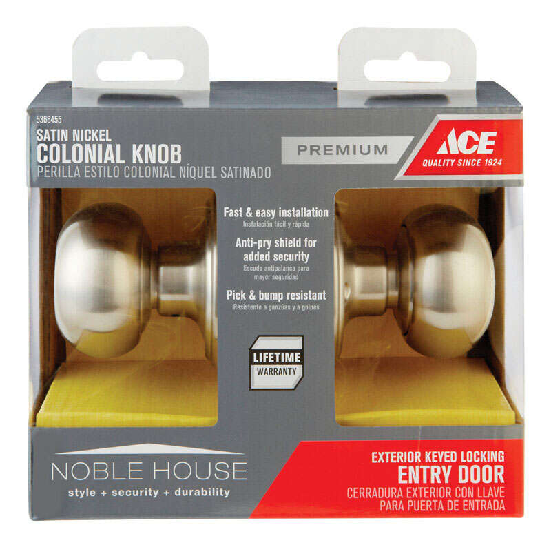 Ace  Colonial  Satin Nickel  Steel  ANSI/BHMA Grade 3  1-3/4 in. Entry Lockset