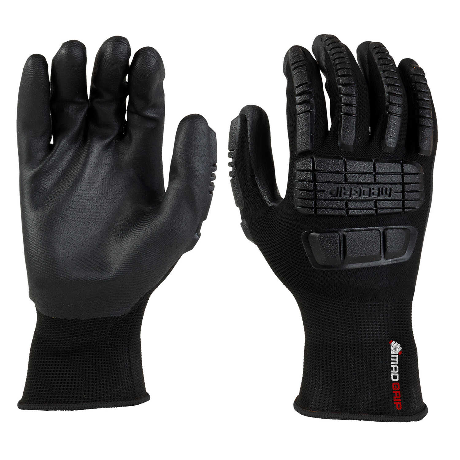 MadGrip  Ergo Impact  Unisex  Polyurethane  Coated  Work Gloves  Black  XL