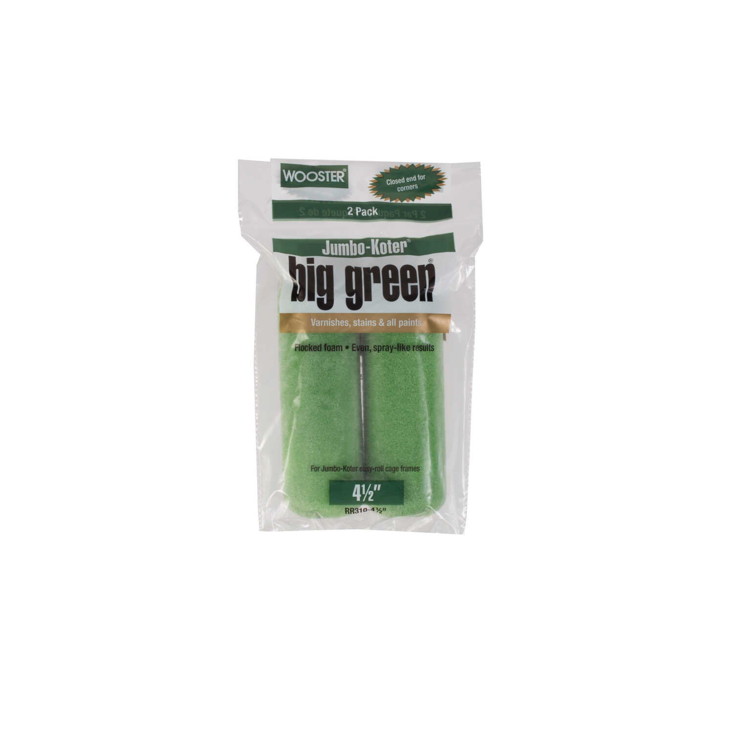 Wooster  Big Green  Flocked Foam  3/8 in.  x 4-1/2 in. W Trim  Paint Roller Cover  For Smooth Surfac