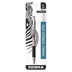 Zebra  F-301  Black  Retractable Ball Point Pen  1 pk