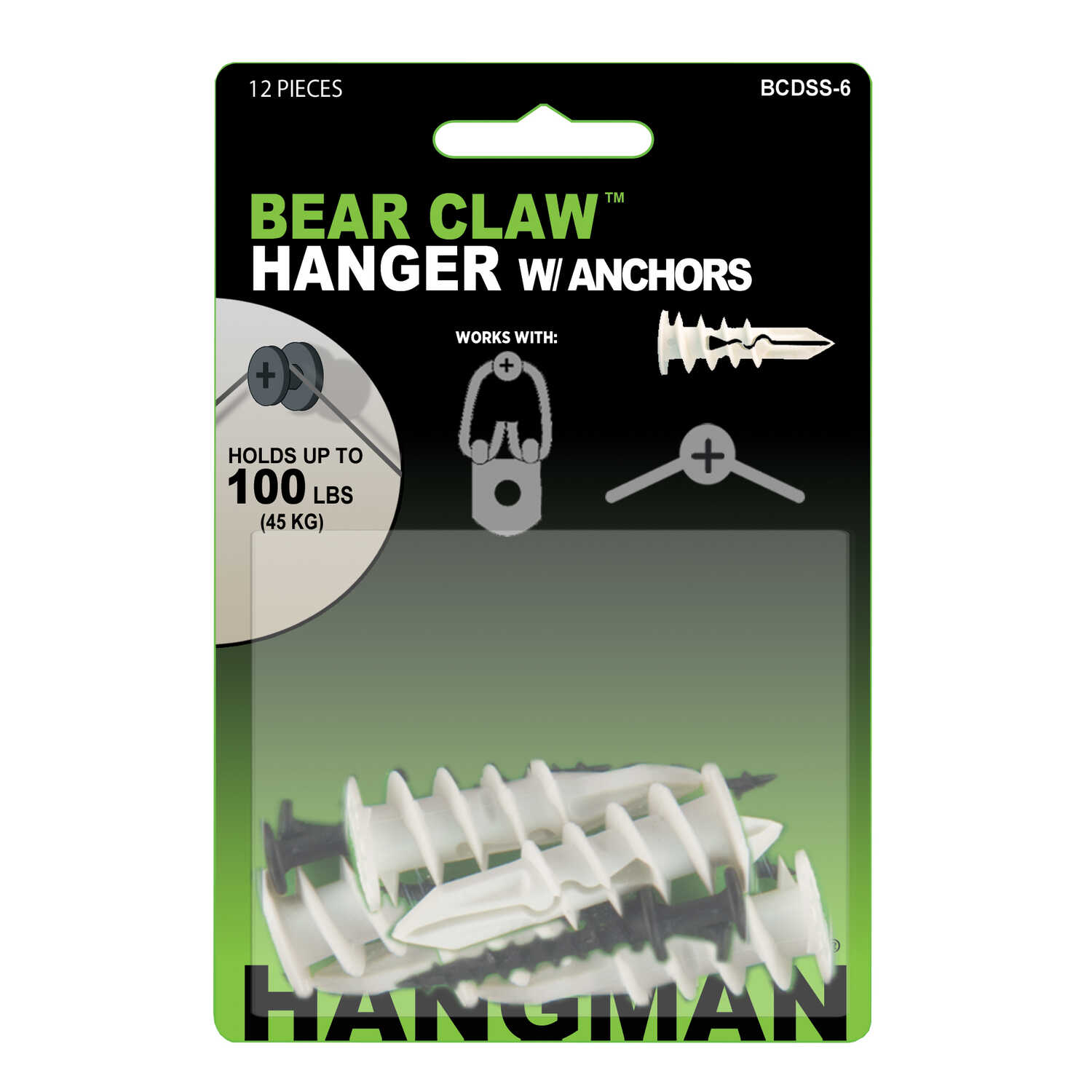 Hangman  Wall Hangers w/Anchors  Self-Drilling  6 each 100 lb.