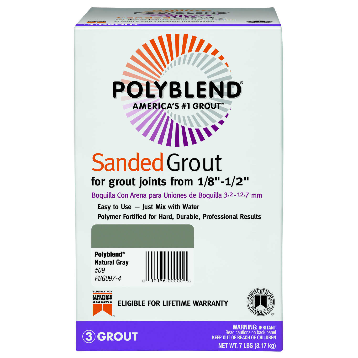 Custom Building Products  Polyblend  Indoor and Outdoor  Natural Gray  Grout  7 lb.