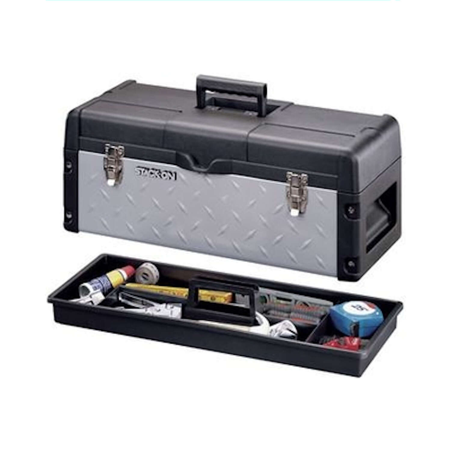 Stack-On  26 in. W x 10.25 in. H Metal/Plastic  11.5 in. Black  Tool Box