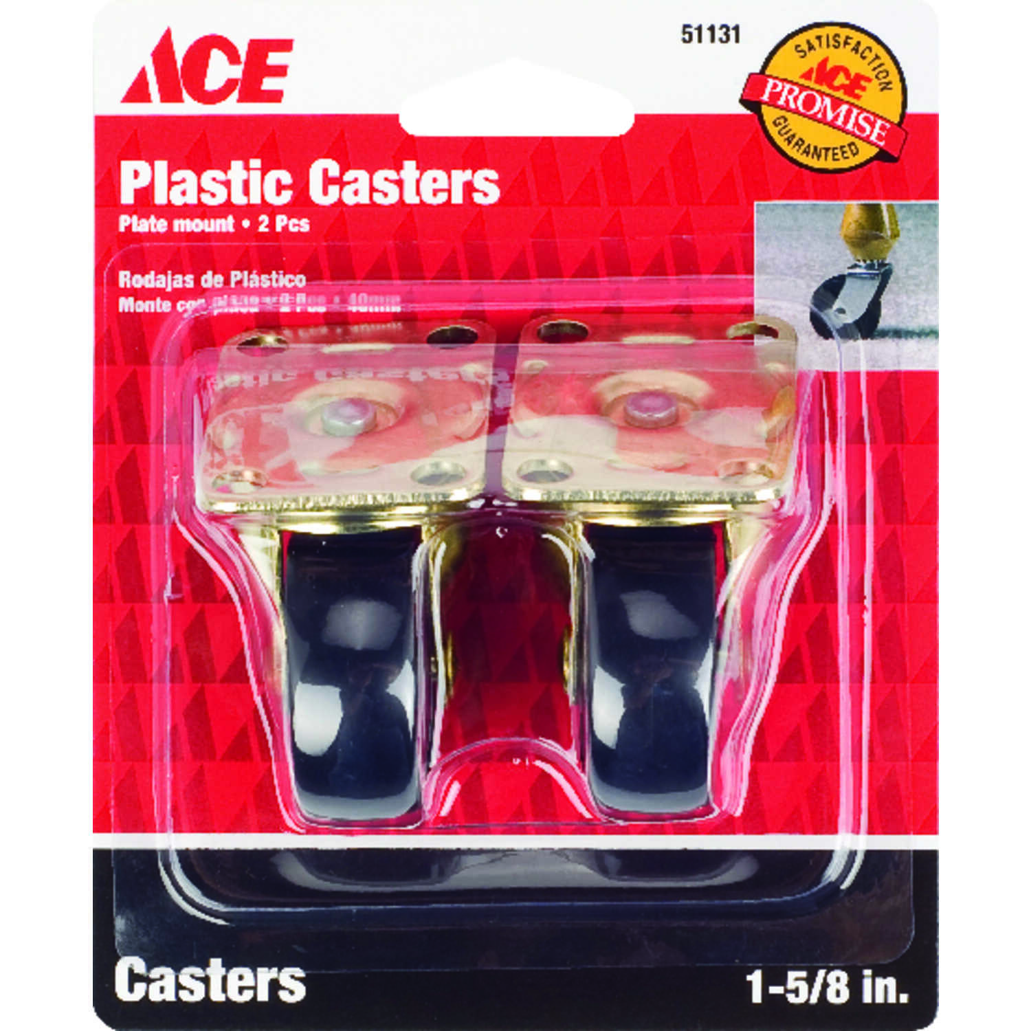 Ace  1-5/8 in. Dia. Swivel Plastic  Caster Wheel with Plate  50 lb. 2 pk