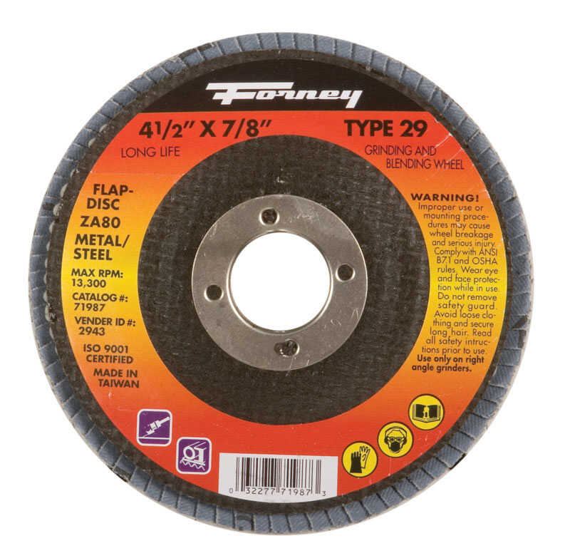Forney  4-1/2 in. Dia. x 7/8 in. in.  Flap Disc  80 Grit Zirconia Aluminum Oxide  13300 rpm 1  Fine