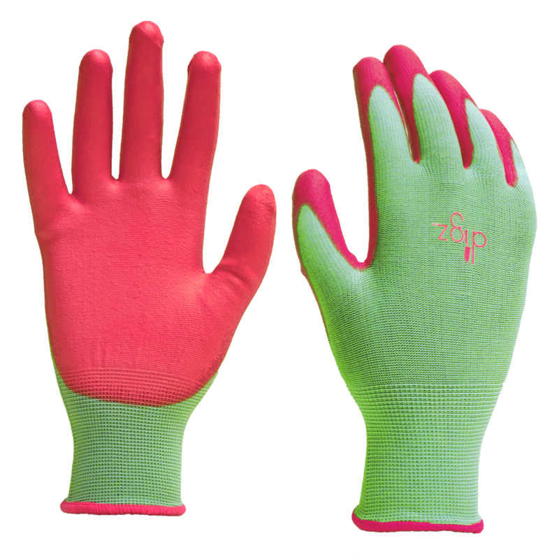 Digz  Women's  Indoor/Outdoor  Polyurethane  Gardening Gloves  Green  S  1 pk