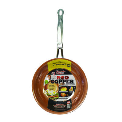 Red Copper  Ceramic Copper  Fry Pan  8 in. Red