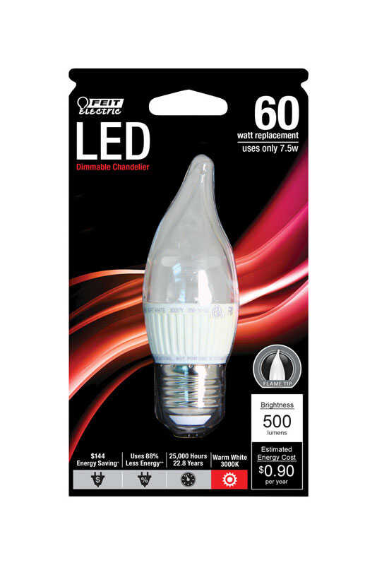 FEIT Electric  7.5 watts CA10  LED Bulb  500 lumens Decorative  60 Watt Equivalence Warm White