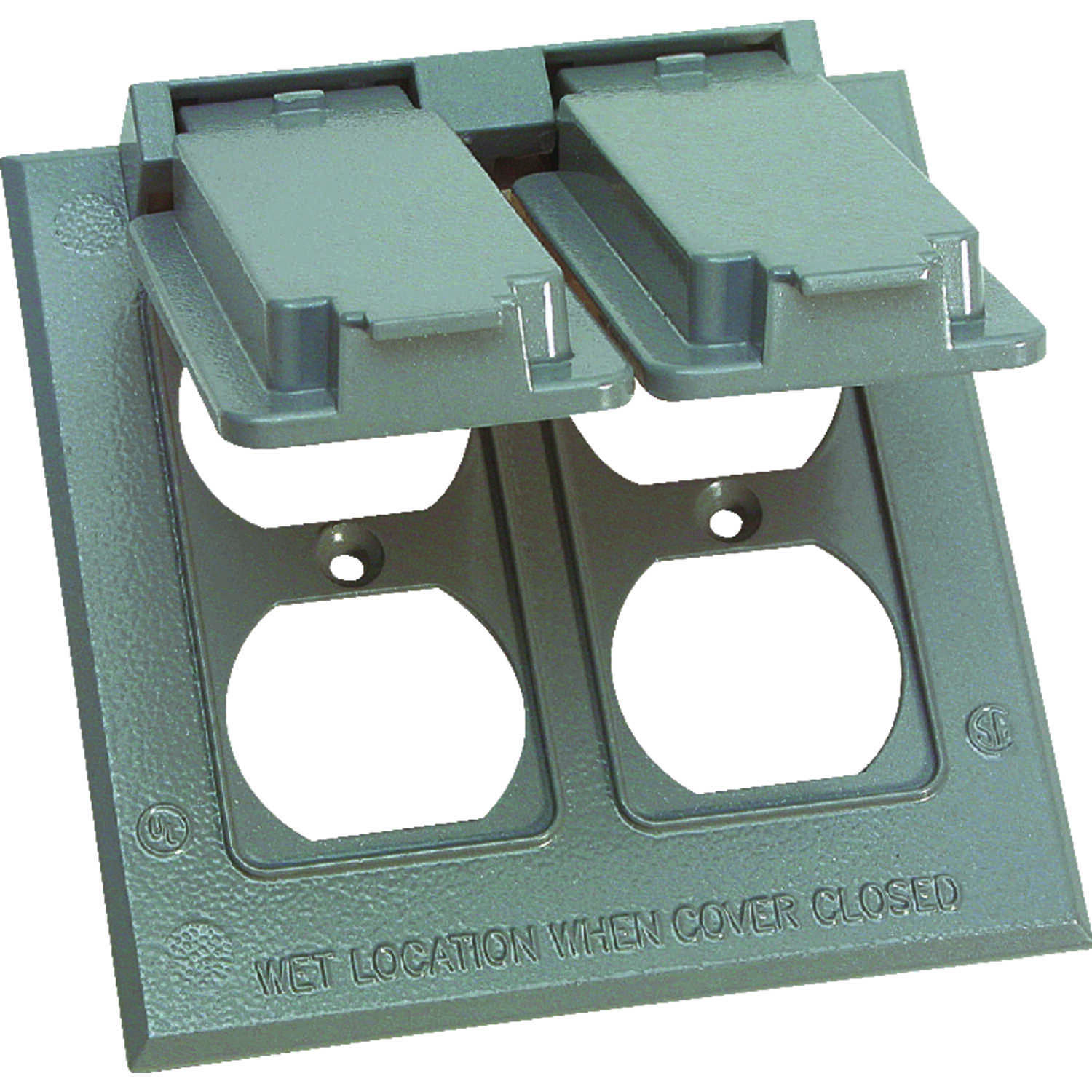 Sigma Electric  Square  Metal  2 gang Duplex Box Cover  For Wet Locations