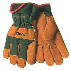 Kinco  Men's  Indoor/Outdoor  Cowhide Leather  Cowhide  Work Gloves  Brown/Green  L  1 pair