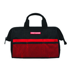 Craftsman  13 in. W Wide Mouth  Tool Bag  6 pocket Black/Red