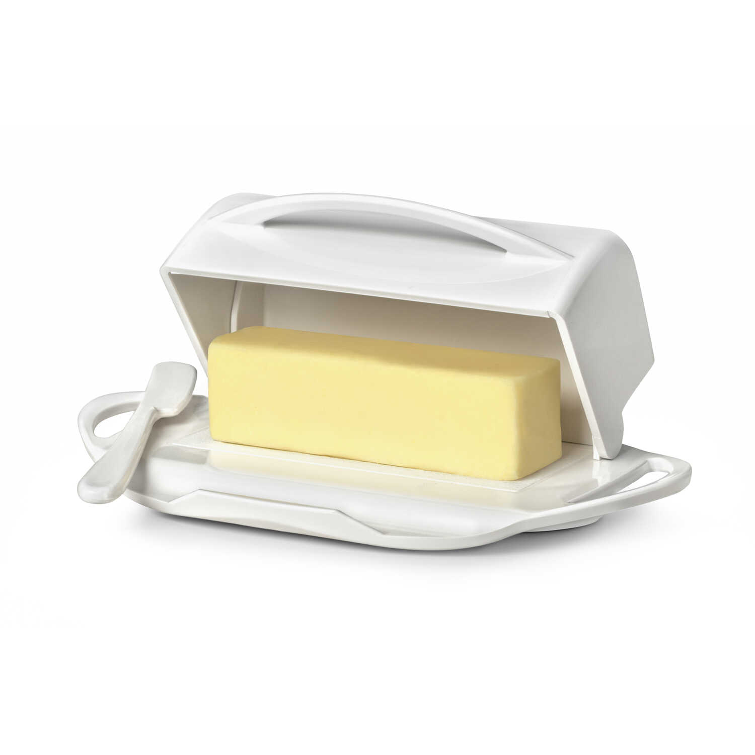 Butterie  5.5 in. W x 9 in. L White  Butter Dish