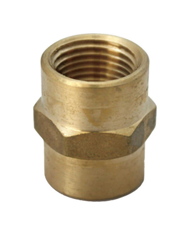 JMF  3/4 in. Dia. x 3/8 in. Dia. FPT To FPT  Yellow Brass  Reducing Coupling