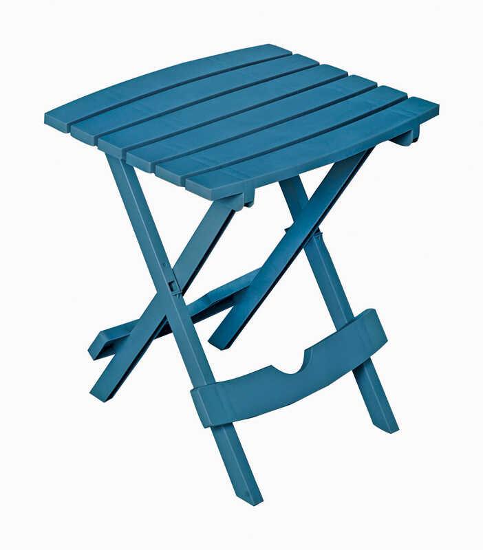 Adams Quikfold Blue Rectangular Folding Side Table