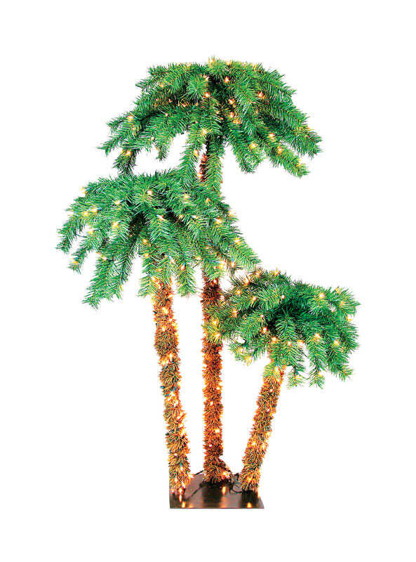 Celebrations  Clear  3-1/2 ft. Palm  Artificial Tree  350 lights Prelit