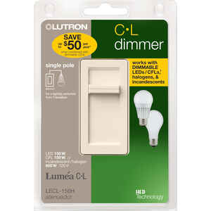 Lutron  Lumea C-L  Ivory  150 watts Slide  Dimmer Switch  1 pk