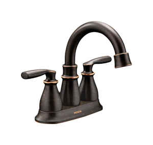 Moen  Hilliard  Mediterranean Bronze  Two Handle  Lavatory Faucet  4 in.