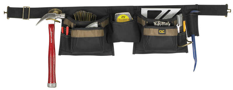 CLC  Heavy Duty 12 pocket Nylon  Apron  Black/Brown  1 pk