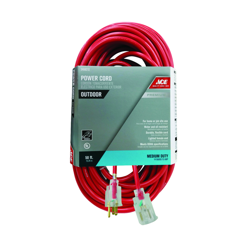 Ace Outdoor 50 ft. L Red 14/3 SJTOW Extension Cord - Ace Hardware