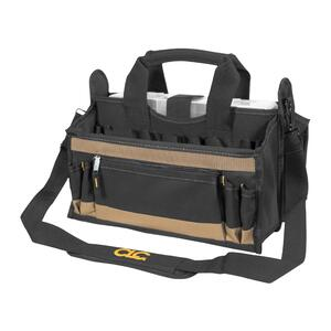 CLC  9 in. W x 16 in. H Polyester  Tool Bag  17 pocket Black/Tan  1 pc.