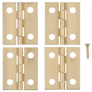Ace  13/16 in. W x 1 in. L Polished Brass  Brass  Medium Hinge  4 pk