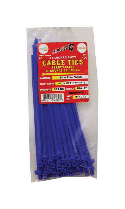 Tool City  8 in. L Blue  Cable Tie  100 pk