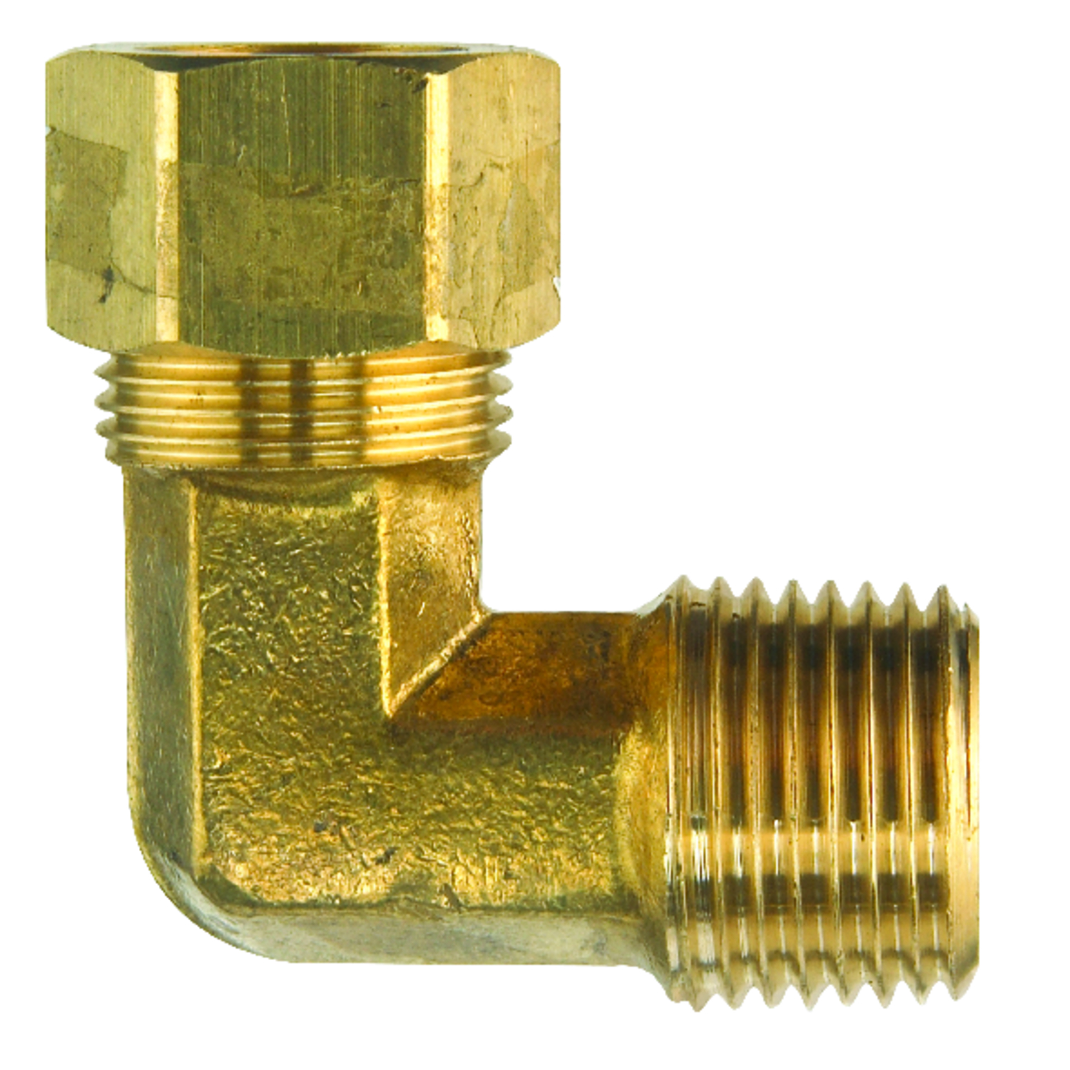 Ace  5/8 in. Dia. x 1/2 in. Dia. Compression To MPT To Compression  90 deg. Yellow Brass  Elbow