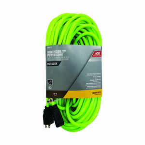 Ace  80 ft. L Neon Green  Outdoor  12/3 SJTW  Extension Cord