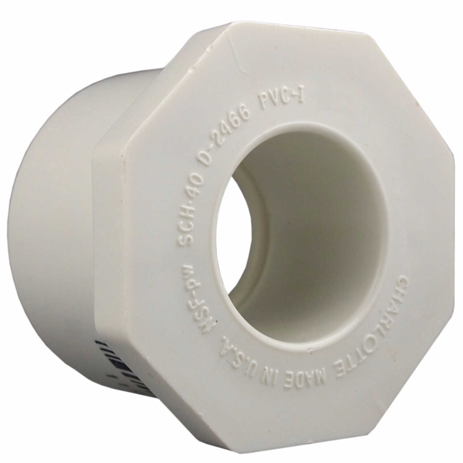Charlotte Pipe  Schedule 40  2 in. Slip   x 1/2 in. Dia. Slip  PVC  Reducing Bushing