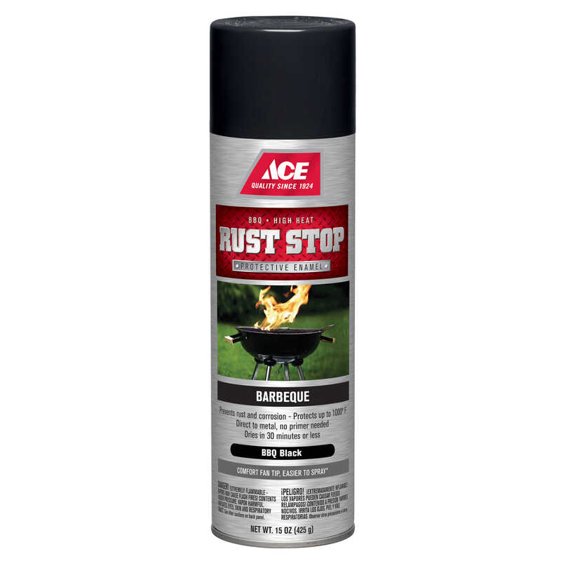 Ace  Rust Stop  Barbeque Black  Spray Paint  15 oz.