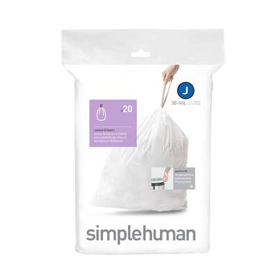 simplehuman  Custom Fit Code J  10.5 gal. Trash Bag Liner  Drawstring  20 pk
