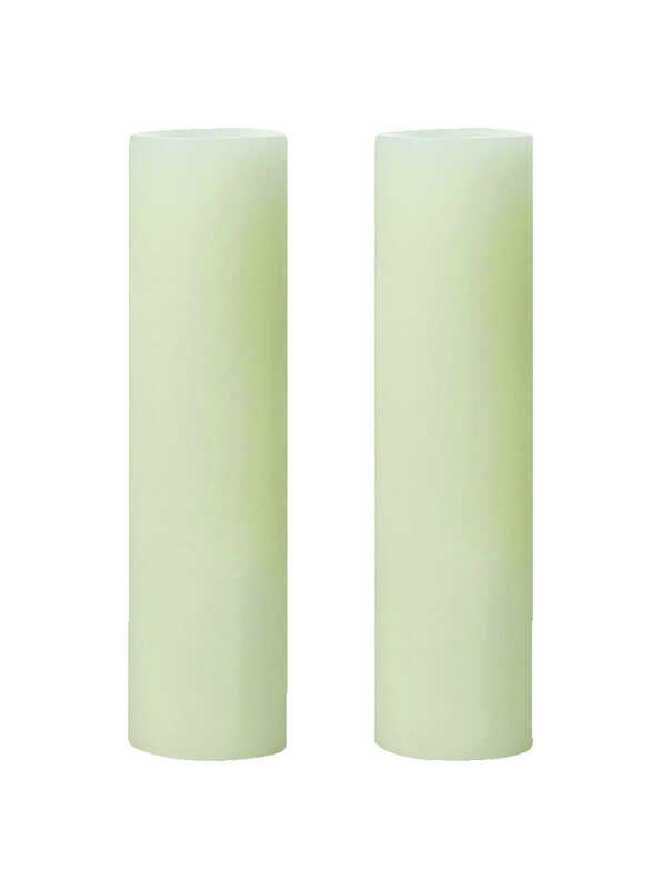 Inglow  Butter Cream  Slim Pillar  Candle  8 in. H