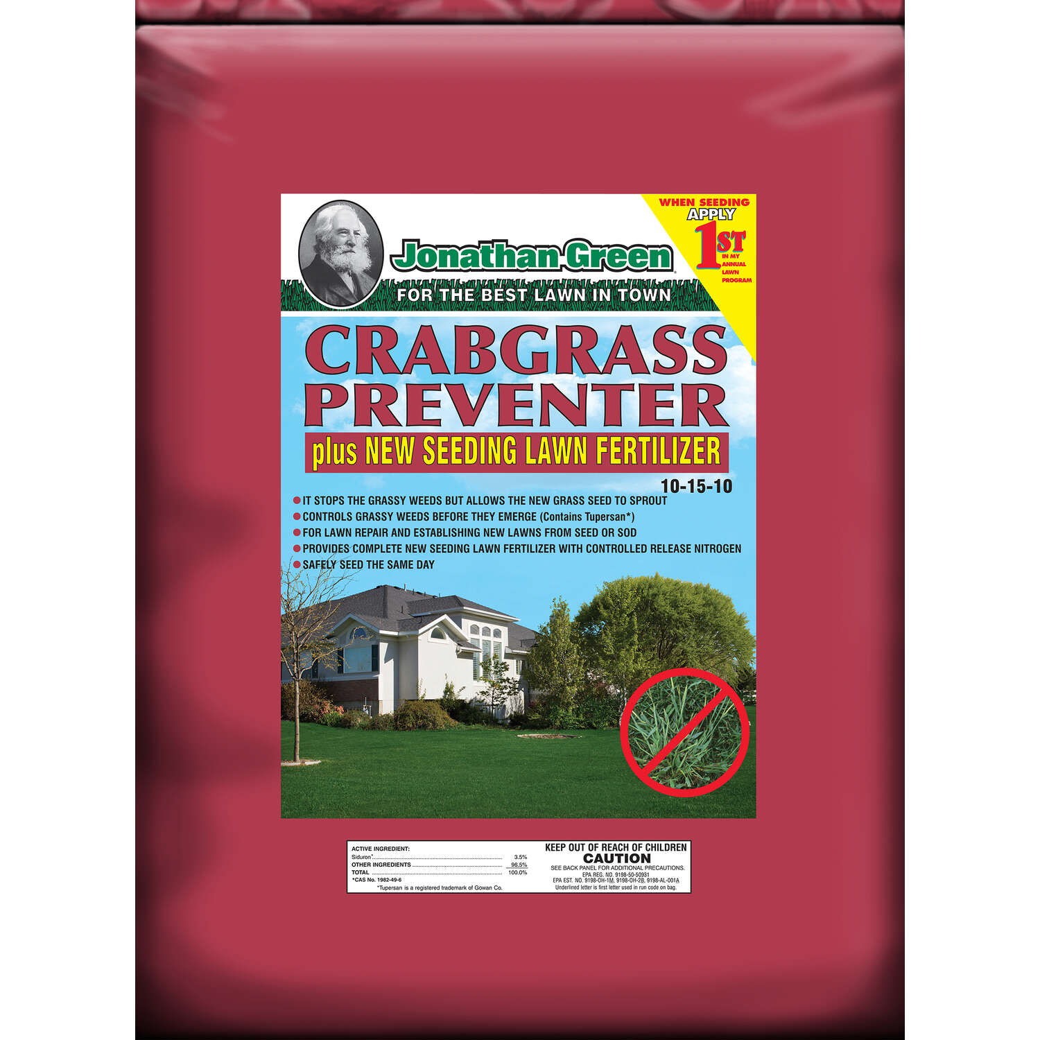Jonathan Green  10-15-10  Crabgrass Preventer with Fertilizer  For All Grass Types 15 lb. 5000 sq. f