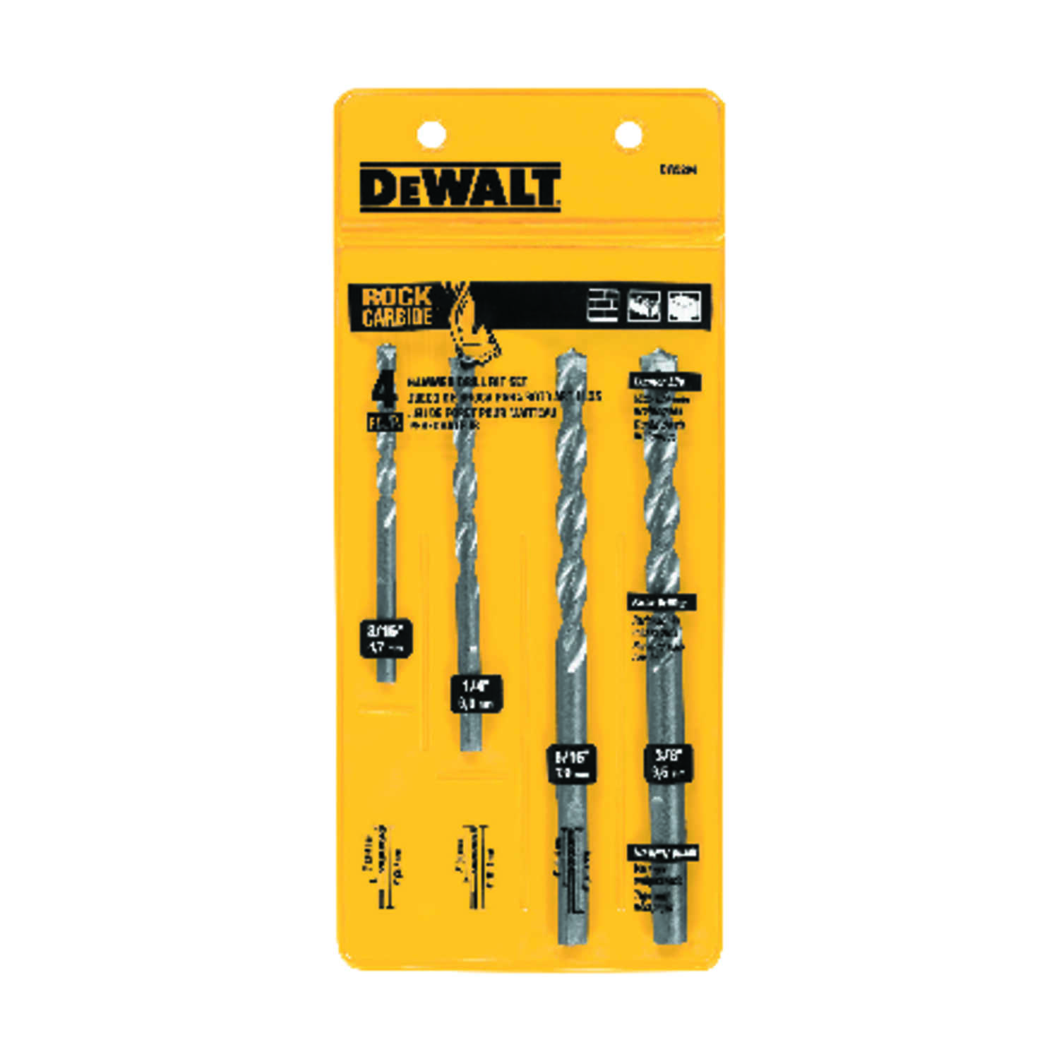 DeWalt  Multi Size in. Dia. x Multiple  L Carbide Tipped  Drill Bit Set  Hex Shank  4 pc.