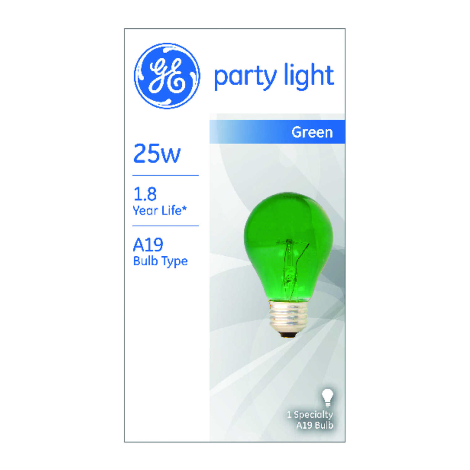 GE  25 watts A19  A-Line  Incandescent Bulb  E26 (Medium)  Green  1 pk