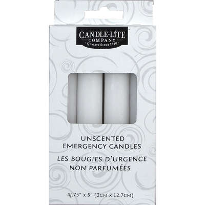 Candle-Lite  White  No Scent Scent Household Emergency Candles  5 in. H x 3/4 in. Dia.