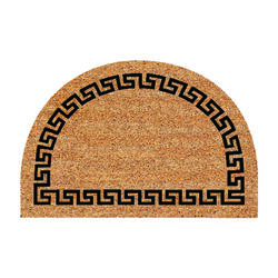 DeCoir 24 in. L x 36 in. W Tan/Black Half-Round Greek Key Nonslip Door Mat