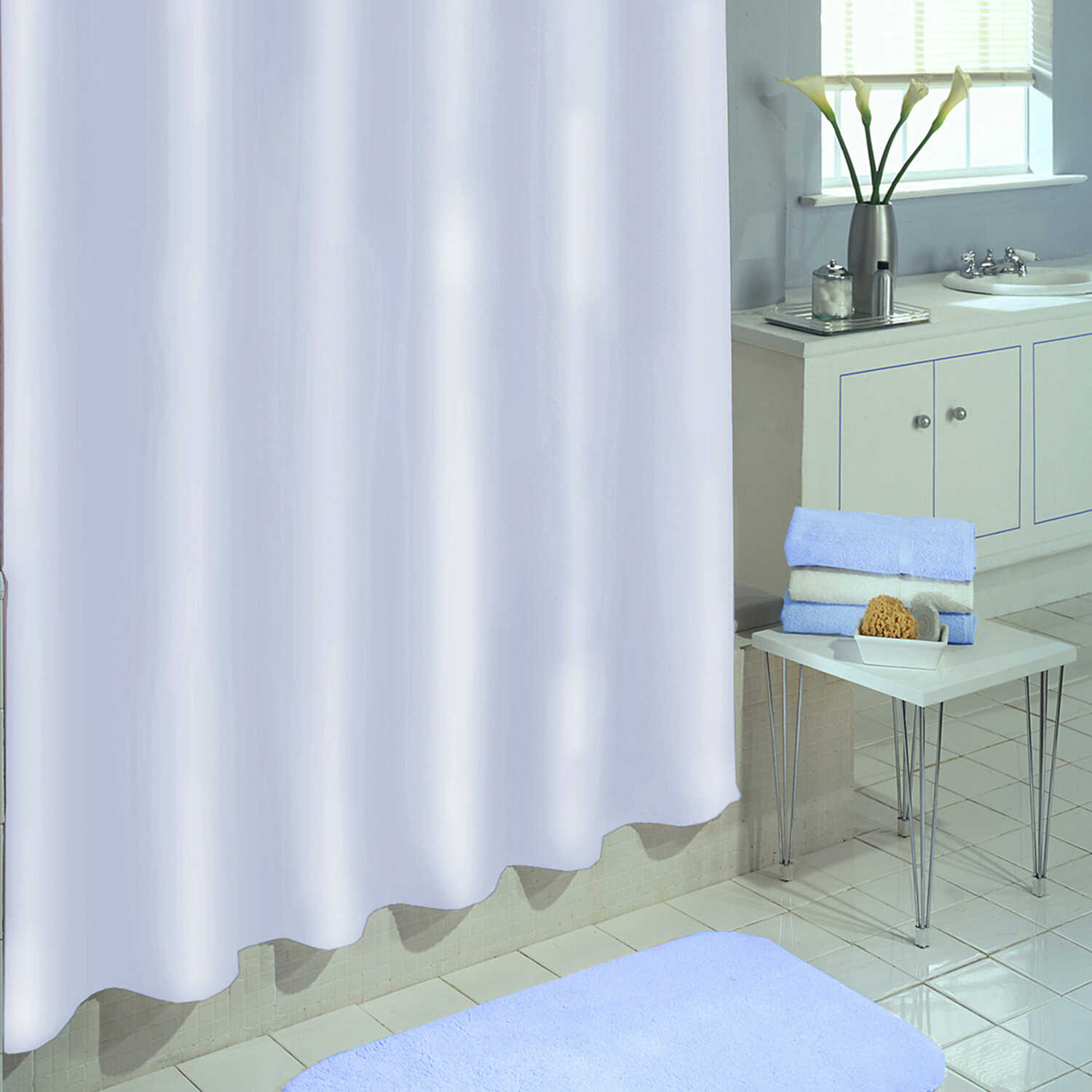 Excell  70 in. H x 71 in. W White  Solid  Shower Curtain  Polyester