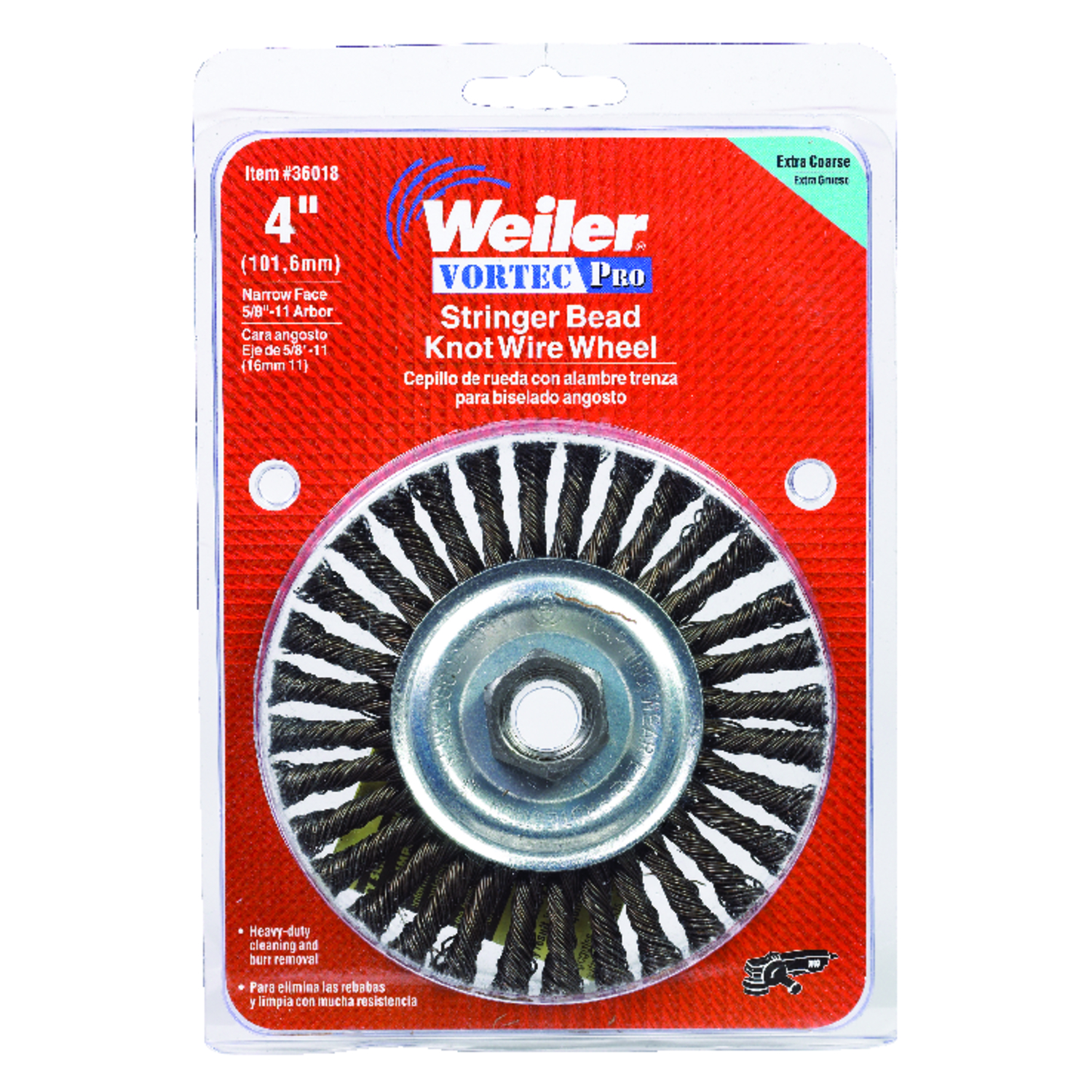 Weiler  4 in. Stringer Bead  Carbon Steel  20000 rpm 1 pc. Wire Wheel Brush