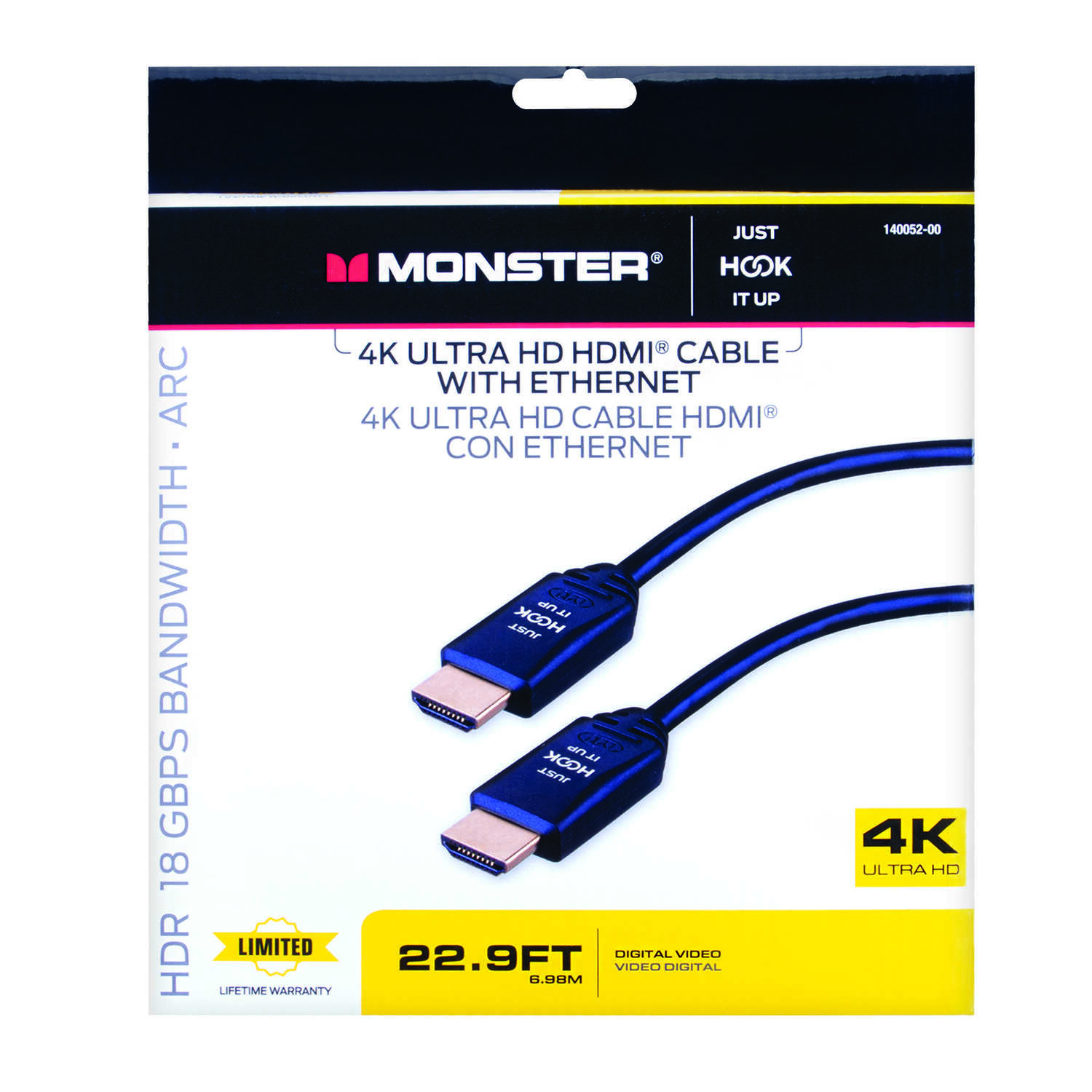 Monster Cable  Just Hook It Up  22.9 ft. L High Speed HDMI Cable with Ethernet  HDMI
