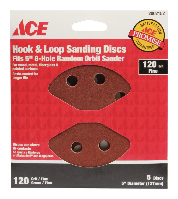 Ace  5 in. Aluminum Oxide  Hook and Loop  Sanding Disc  Fine  5 pk 120 Grit