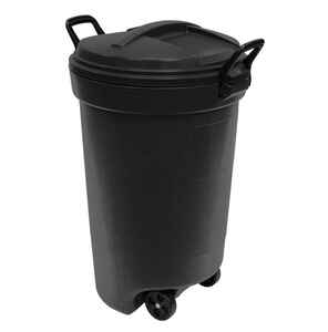 Rubbermaid  32 gal. Plastic  Wheeled Trash Can  Lid Included