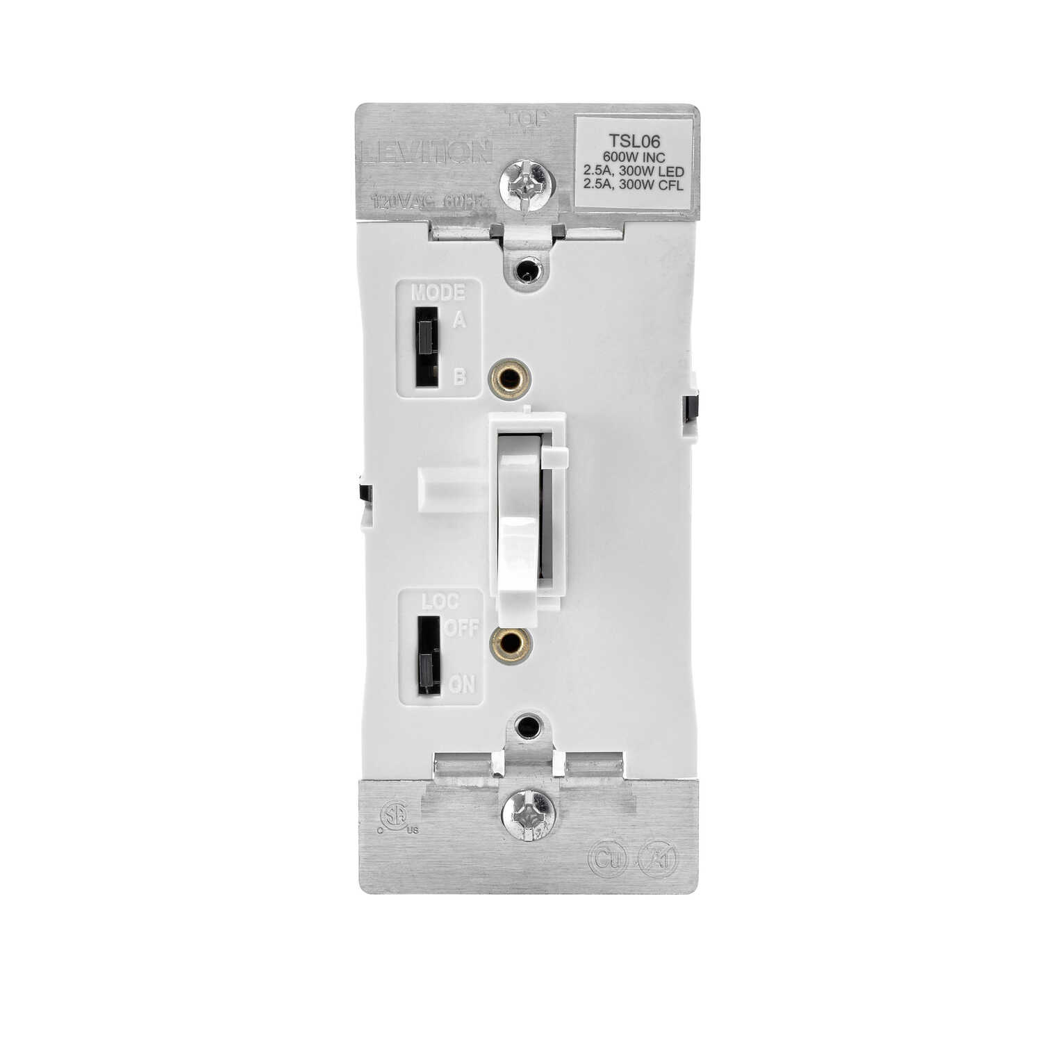 Leviton  White  600W-120VAC incandescent  Toggle  Dimmer Switch  1 pk
