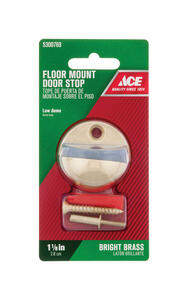 Ace  1-1/8 in. H x 1-3/4 in. W Bright  Metal  Gold  Door Stop  Mounts to floor