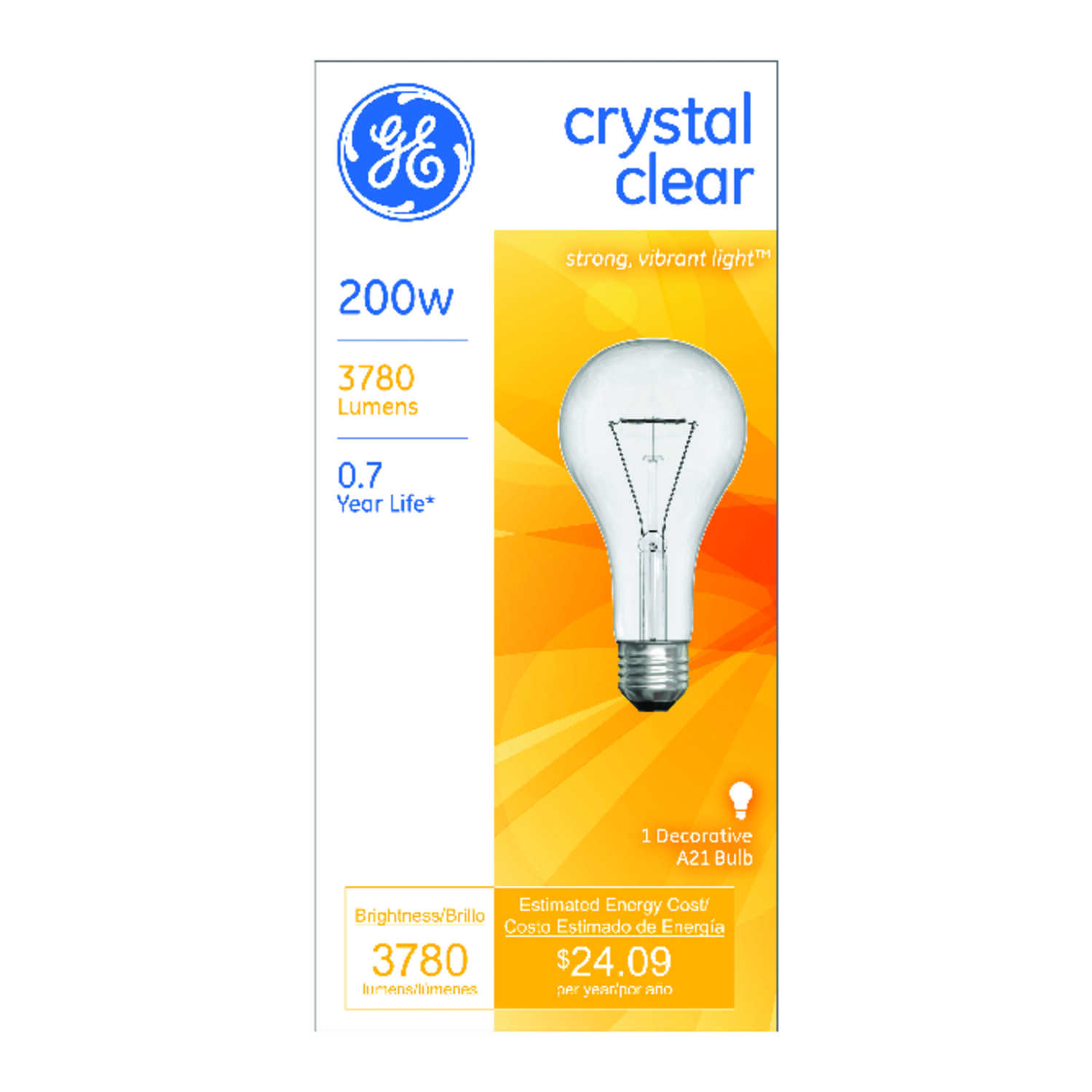 GE  200 watts A21  Incandescent Bulb  3780 lumens Soft White  A-Line  1 pk